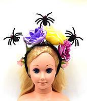 """Обруч на голову """"Пауки, Цветы Розы"""" на Хэллоуин, День мертвых"""