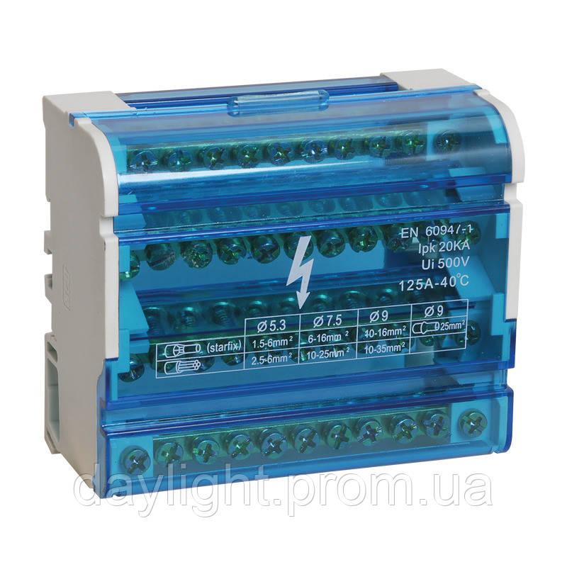 ElectroHouse Шина нулевая в корпусе (кросс-модуль) 4X11 125A IP20