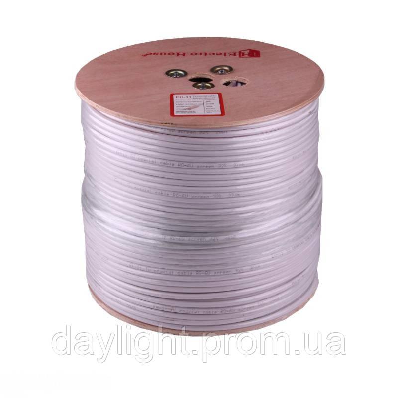ElectroHouse Телевизионный (коаксиальный) кабель RG-6U Cu 1,02 Cu  белый ПВХ