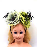 """Обруч на голову """"Пауки, Цветы"""" на Хэллоуин, День мертвых"""