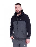 Спортивная кофта (олимпийка) Nike  (44-50)  S - XL  Темно-серый с черным верхом