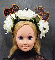 """Обруч на голову """"Летучие мыши, Черепа, Белые Розы Цветы"""" на Хэллоуин, День мертвых"""