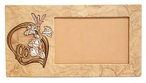 """Рамка для фото горизонтальної орієнтації з натуральної шкіри """"Весільна"""""""