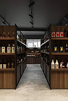 Стеллаж торговый островной для алкоголя. Стеллажи двухсторонние в алкомаркет