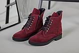 Женские замшевые ботинки деми, цвета бордо, фото 5