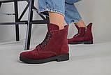 Женские замшевые ботинки деми, цвета бордо, фото 6