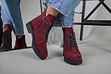 Женские замшевые ботинки деми, цвета бордо, фото 3