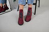 Женские замшевые ботинки деми, цвета бордо, фото 4