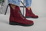 Женские замшевые ботинки деми, цвета бордо, фото 7