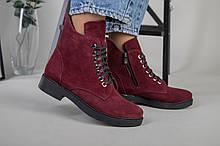 Женские замшевые ботинки деми, цвета бордо