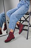 Женские замшевые ботинки деми, цвета бордо, фото 8