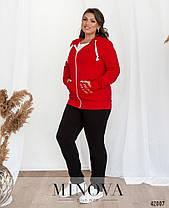 Костюм женский в спортивном стиле с бомбером цвет красный, больших размеров  от  48 до 62, фото 2