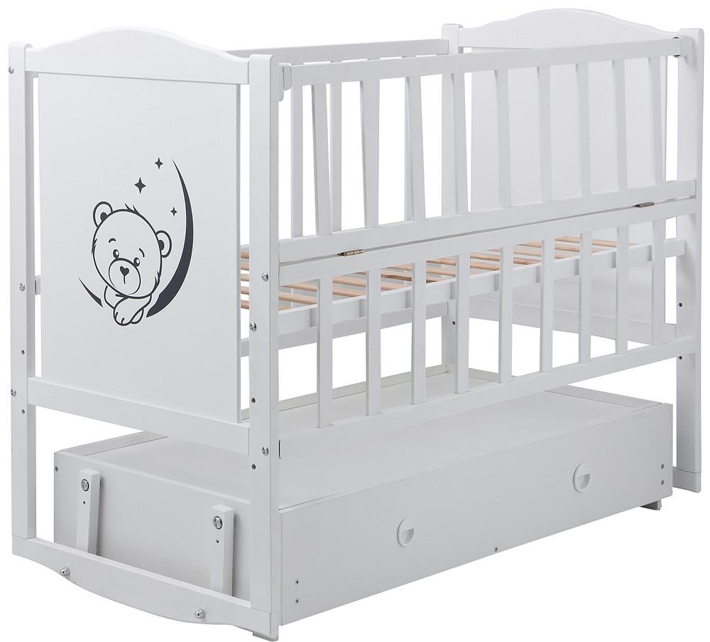 Кровать Babyroom Тедди Т-03 белая (маятник,ящик)