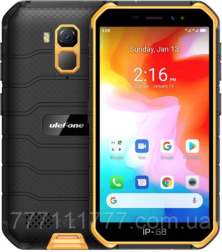 Смартфон противоударный оранжевый с хорошей батареей большой емкости на 2 sim UleFone Armor X7 orange 2/16 NFC
