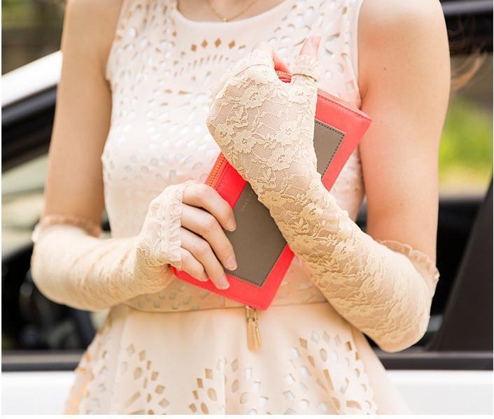 Довгі мереживні мітенки длинные кружевные митенки перчатки