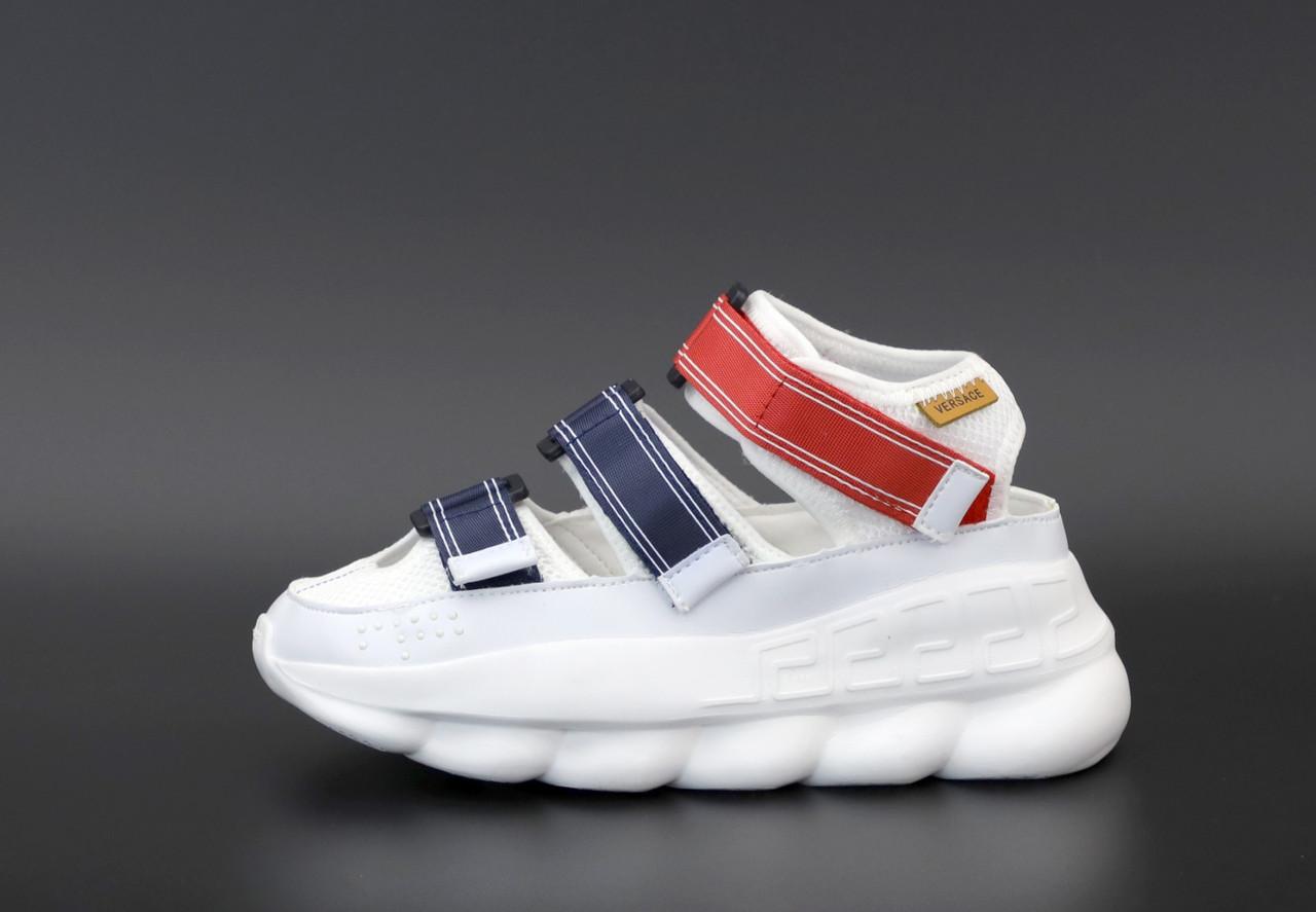 Женские сандали Versace Chain Reaction в стиле босоножки белые (Реплика ААА+)