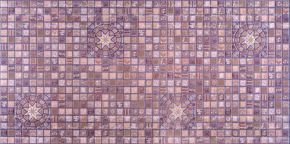 Листовая панель ПВХ на стену Регул, Мозаика (Медальон Фиолетовый)