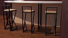 Чорний барний стілець з металу й натурального дерева, фото 5