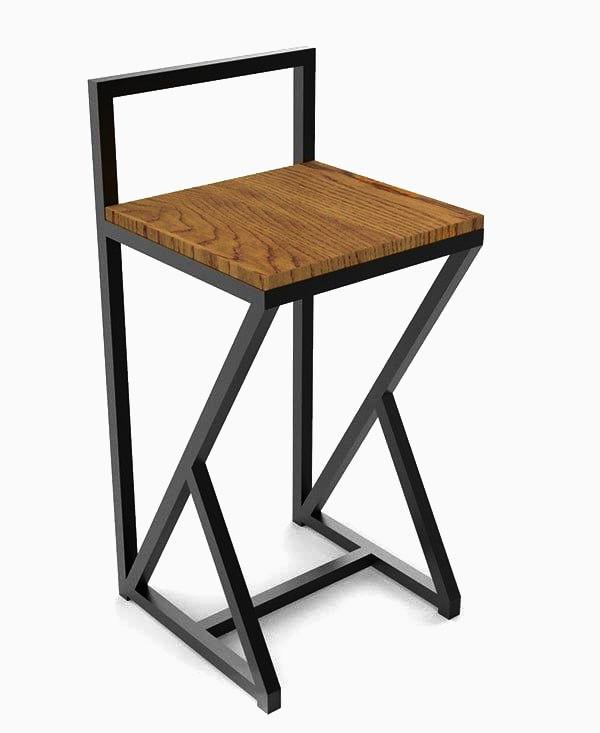Чорний барний стілець з металу й натурального дерева