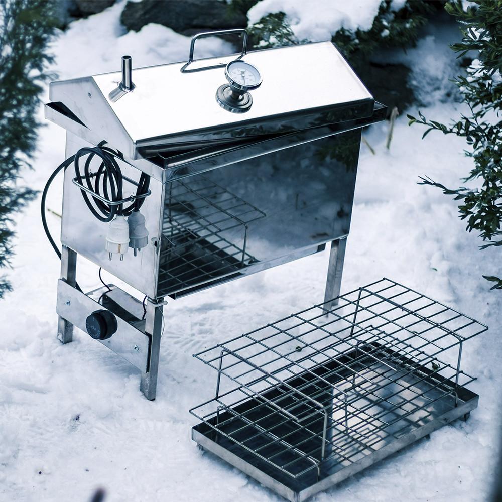 """Електрична коптильня рибальська з нержавійки з термометром, 2 мм. Кришка """"будиночком"""" 1.5 кВт 220V"""