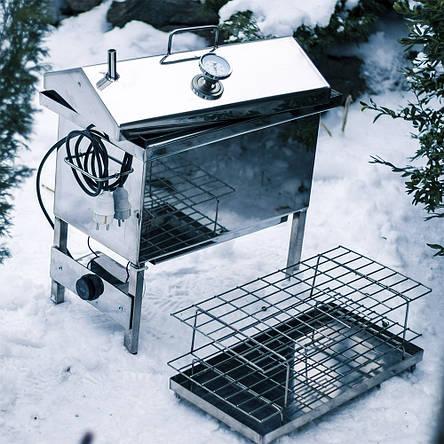 """Електрична коптильня рибальська з нержавійки з термометром, 2 мм. Кришка """"будиночком"""" 1.5 кВт 220V, фото 2"""
