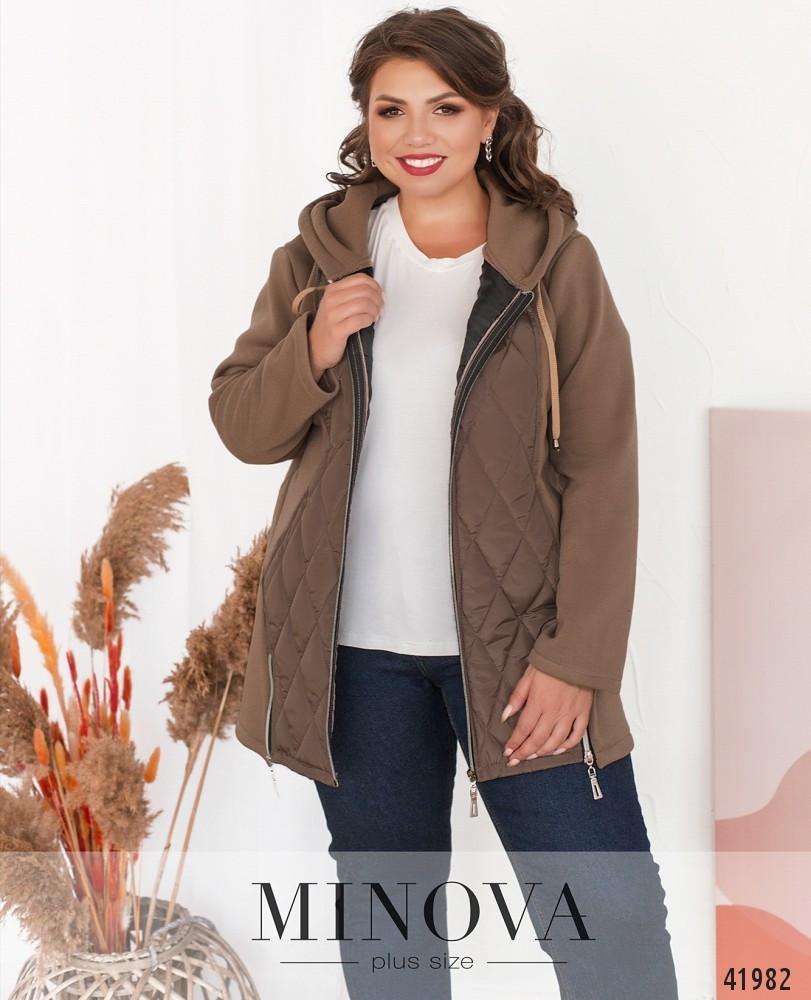 Бежевая женская куртка комбинированная с плащевкой, больших размеров  от  50 до 66