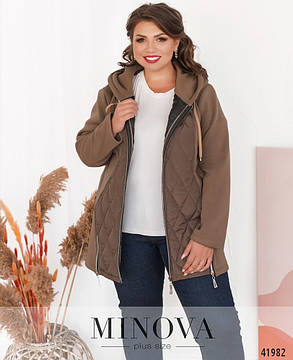 Бежевая женская куртка комбинированная с плащевкой, больших размеров  от  50 до 66, фото 2