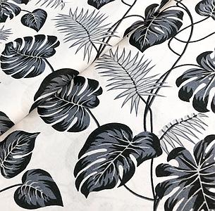 """Польская хлопковая ткань """"листья монстеры черно-белые"""", фото 2"""