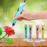 3D Ручка для детей 3Д ручка 2-го поколения с дисплеем LCD Pen 2 Голубая для детей Набор с Эко Пластиком, фото 8