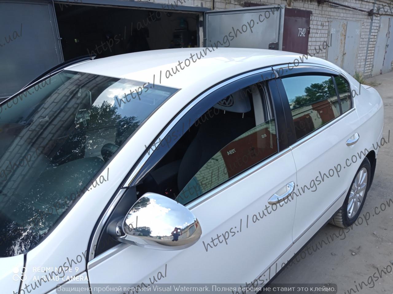 Дефлектори вікон VW Passat B6/B7 EURO (2005-2016) з молдингом хром