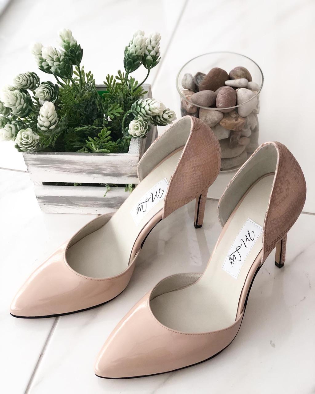 Кожаные Женские туфли 91020/3беж/л размеры 36-41