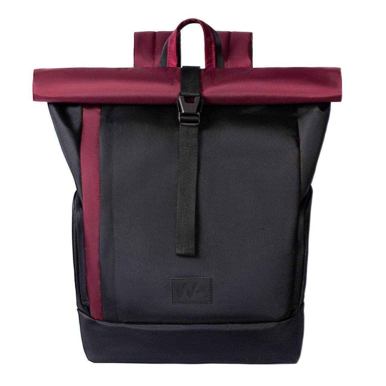 Городской рюкзак для ноутбука Wasco Kane Roll Черный-Бордо