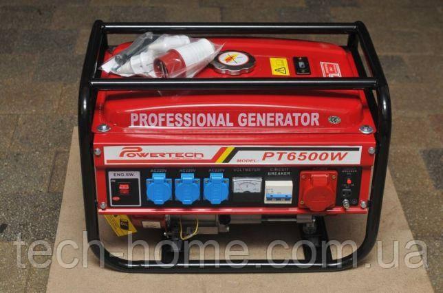 Генератор бензиновый 3-х фазный Германия Powertech PT6500W 4,5 кв (220\380) вт