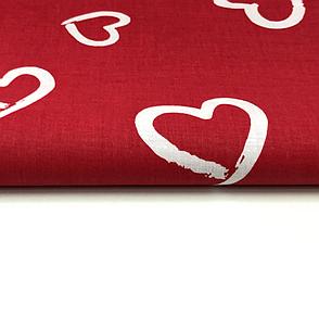 """Польская хлопковая ткань """"валентинки на красном"""", фото 2"""