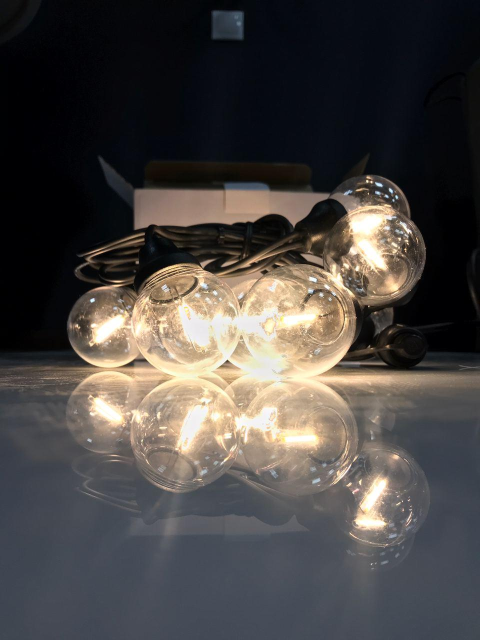 Cветодиодная ретро-гирлянда лампочки Lumion Filament Bulb String G45 4м 20 ламп цвет белый теплый