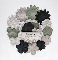 Набор цветов Dovecraft Paper Blossoms Charcoal_СЕРЫЙ, фото 1