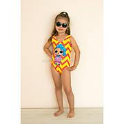 Купальник детский слитный оранжево-желтый LOL - 602-10