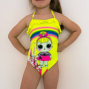 Купальник слитный детский желтый тонкие бретели-завязки LOL - 602-18