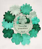 Набор цветов Dovecraft Paper Blossoms Aqua_БИРЮЗОВЫЙ, фото 1