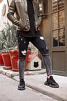 Мужские зауженные черные с серым джинсы скинни градиент, потертые, узкие