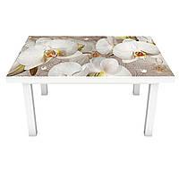 Виниловая наклейка на стол Орхидеи и капли росы 02 (на мебель интерьерная ПВХ пленка 3Д) бежевый 600*1200 мм