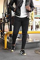 Мужские зауженные черные джинсы скинни, потертые, узкие