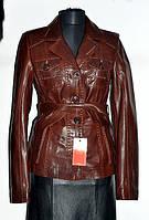 Пиджак кожаный коричневый длина-60см 44р ОГ-86 ОБ-88