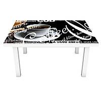 Виниловая наклейка на стол Черный Кофе (на мебель интерьерная ПВХ 3Д) чашка Coffee абстракция 600*1200 мм