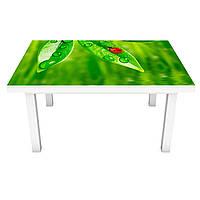 Виниловая наклейка на стол Трава и Божьи коровки (на мебель интерьерная ПВХ пленка) роса зеленый 600*1200 мм
