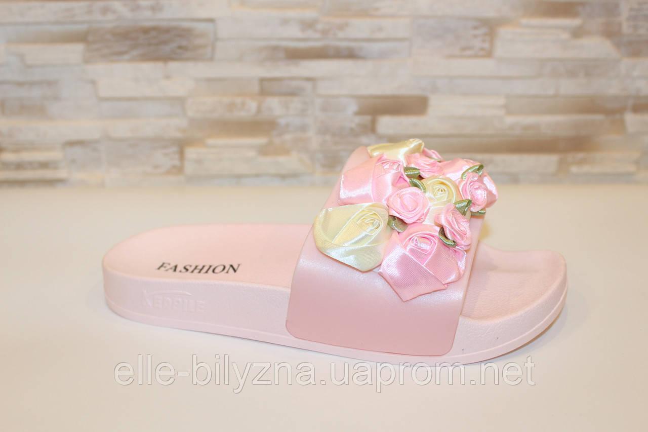 Шлепанцы женские розовые с цветами Б1021 37