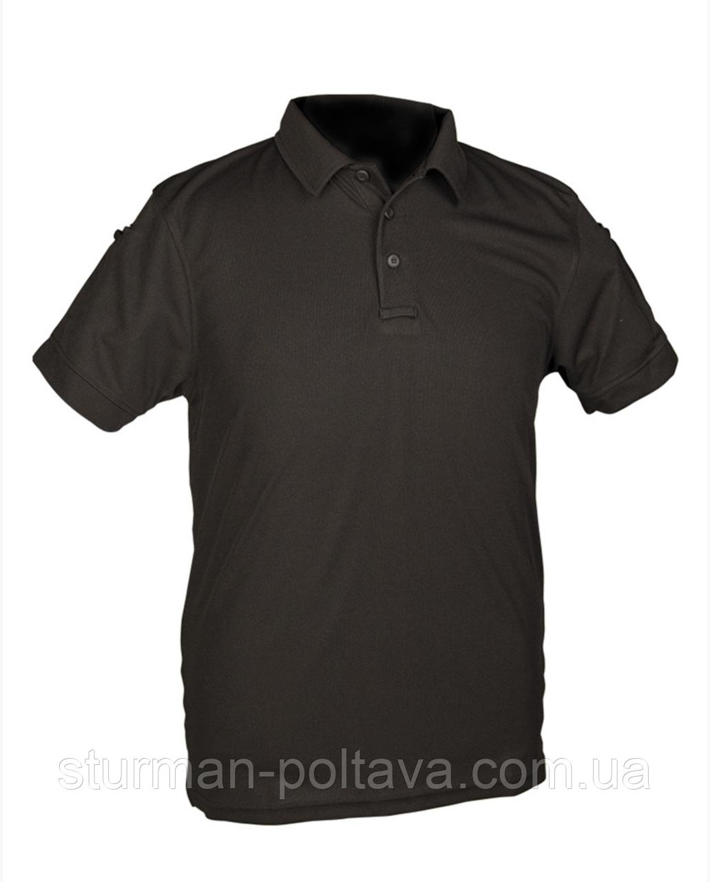 Футболка  мужская потовыводящая  POLO тактическая  черная Urban Tactical Line®   COOLMAX ® Германия
