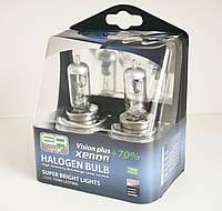 Галогенная лампа EuroAuto 12V 60/55W H4 P43t VISION PLUS +70%, комплект