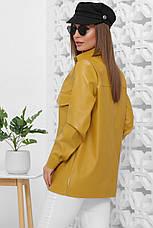 Рубашка женская горчичная с длинными рукавами. Эко кожа полиэстер. Повседневная, офисная рубашка, фото 3