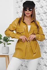 Рубашка женская горчичная с длинными рукавами. Эко кожа полиэстер. Повседневная, офисная рубашка